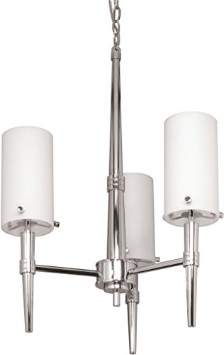 Nuvo Lighting 60/3863 Jet 3-Light Chandelier with Frosted Glass, Polished Chrome