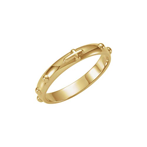 Yellow Gold Rosary Ring - Mr.Piercing 14K Yellow Gold Rosary Ring Size 8