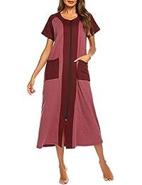 61b96e8a9f Women Zipper Robe Half Sleeve Loungewear Full Length Nightgown Duster  Housecoat with Pockets S-XXL