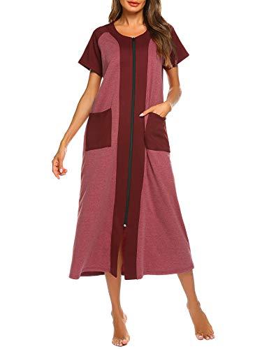 Ekouaer Long Robe Nightgowns Short Sleeve House Coat O Neck Dresses Sleepwear Zip Loungewear with Pockets (Wine Red,XL)