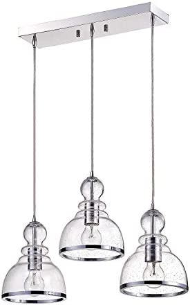 Jojospring Alita Iron 3-Light Clear Bubble Glass Cluster Pendant with Chrome Finish