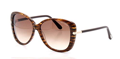 Tom Ford Linda FT0324 Sunglasses-50F Brown Striped (Brown Gradient Lens)-59mm (Ford Tom Linda)