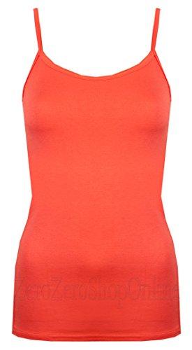 Chalecos de mujer Tops chalecos de Womens Verano Viscosa de Plain Tiras de tirantes Cami exclusivamente By Love Lola Non Iron naranja