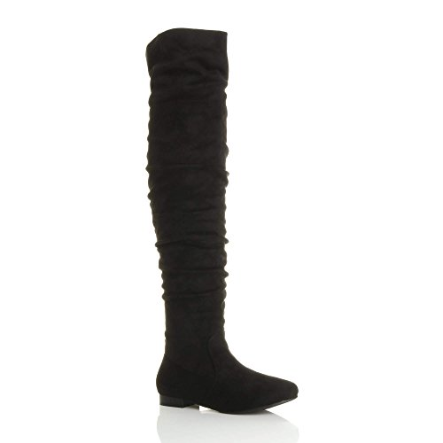 Womens Flat Pirate Boots (Ajvani Women's Flat Low Heel Ruched Slouch Over The Knee Thigh Boots Size 7 38)