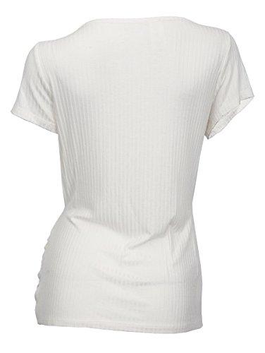 eVogues Women's Low Cut Wrap Bodice Top White