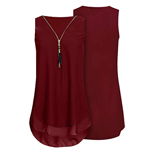 Womens Loose Chiffon Sleeveless Tank Top V-Neck Zipper Hem Scoop T Shirts Tops(XXX-Large, -