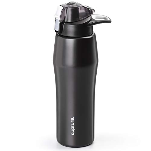 Cupture Action Bottle Flip Top with Handle - 22oz Double Wall Vacuum-Insulated Stainless Steel Water Bottle (Black)