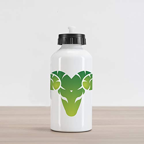 Ambesonne Zodiac Aries Aluminum Water Bottle, Head of Aries in Green Abstract Silhouette Mythology Cosmos, Aluminum Insulated Spill-Proof Travel Sports Water Bottle, Fern Green Pale Green White