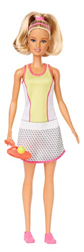 Barbie Blonde Tennis Player Doll with Chic Tennis Outfit, Racket and Ball for Ages 3 and Up