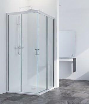 Mampara de ducha Acces ángulo coulisante: 2 paredes fijas + 2 puertas correderas cristal Zapatillas de 6 mm Altura 1.95 cm: Amazon.es: Bricolaje y herramientas