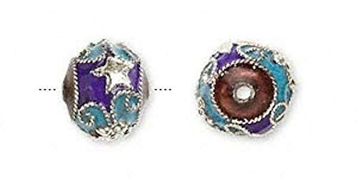 (4 Silver Plated Cloisonne Drum Beads Star Turquoise Blue / 12X10Mm)