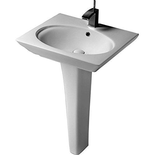 3-371WH Opulence Pedestal Lavatory Oval Bowl 1-hole White