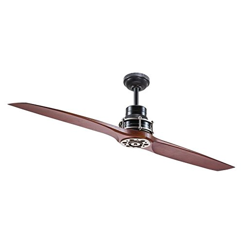 Kichler Lighting 56-in Satin Black with Antique Pewter Accents Downrod Mount Indoor Ceiling Fan with Remote - Fan Antique Ceiling