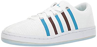 K-Swiss Men's Classic 88 Knit Clouds and Dirt Sneaker, White-Brown-Blue, 7.5 M US