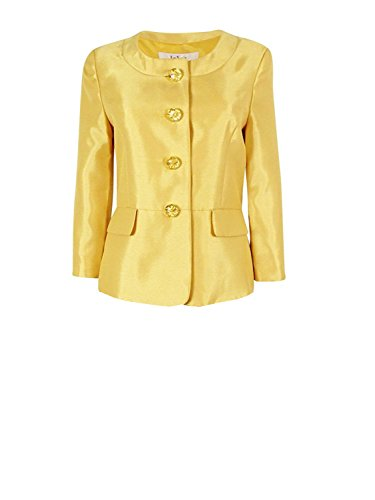 Le Suit Leaf Shantung Women's Crystal-Button Blazer Jacket Gold (Shantung Blazer)