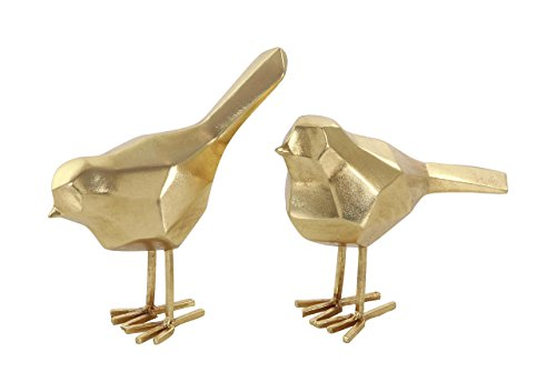 Deco 79 77166 Iron Faceted Bird Sculptures (Set of 2), Gold