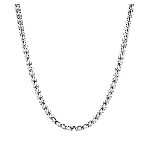 (AmyRT 3mm Stainless Steel Round Box Chain Necklace Silver for Men Women 28