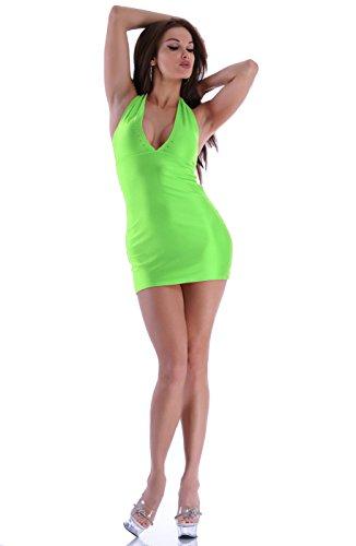 verde fluo abito strass Annsfashion schienale senza Mini con nzx1qF16