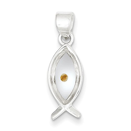 West Coast Jewelry Sterling Silver Enameled with Mustard Seed Ichthus Fish Pendant (Jewelry Ichthus)