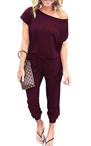 RichCoco Women's Floral Printed Jumpsuit Casual O Neck Loose Long Wide Legs Pants Jumpsuit Rompers with Pockets (Burgundy, M)