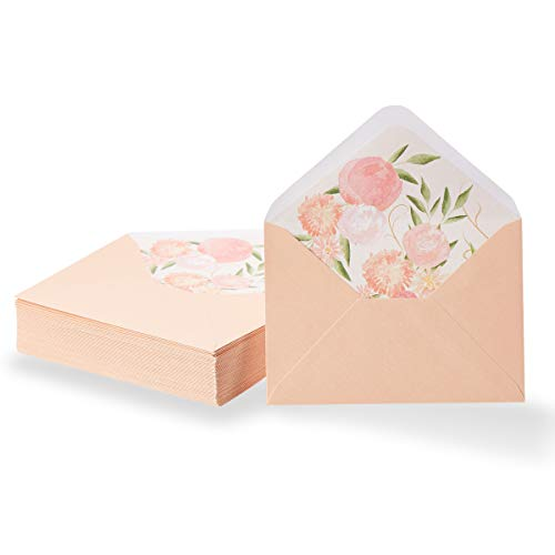 (Paper Junkie 50-Pack A1 Blush Pink Special Occasion Invitation Envelopes for 3x5 Invites with Watercolor Floral Lining for Wedding, Graduation, Birthday, 120gsm, 3 5/8 x 5 1/8 Inches)
