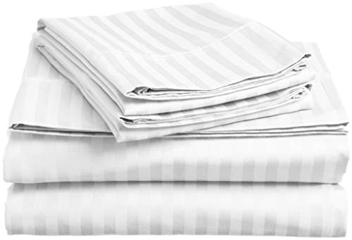 4 Piece: Hotel Luxury Bed Sheets Set,Lux Decor Sheet - Flat Sheet + Fitted Sheet + 2 Pillow Cases, Brushed Microfiber 1800 Bedding - Wrinkle, Fade, Stain Resistant - Hypoallergenic - (Queen, White)