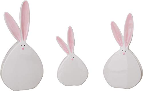 Transpac Dolomite White Easter Fun Chubby Bunny Tabletop Decor Set of 3