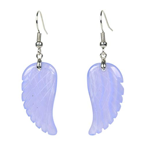 (Natural Blue Lace Agate Gemstone Crystal Healing Reiki Chakra Handmade Angel Wing Dangle Earrings)