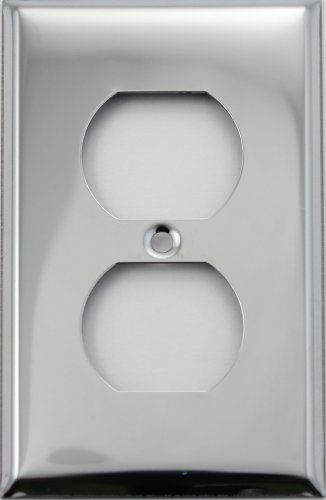 Polished Chrome Single Gang Duplex Outlet Wall Plate (Chrome Outlet Cover compare prices)