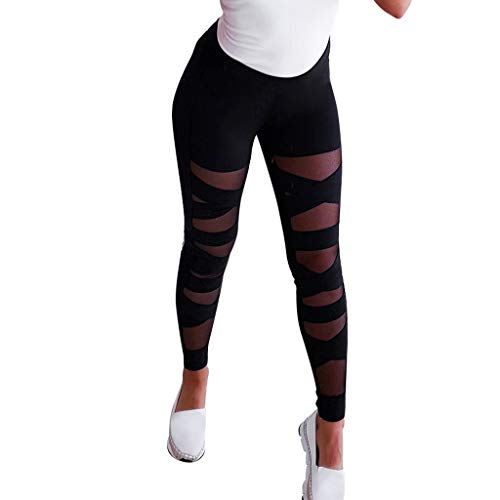 UOFOCO Fashion Perspective Splice Leggings Women Elastic Sport Casual Solid Yoga Pants Black