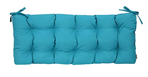 Resort Spa Home Decor Sunbrella Canvas Aruba Blue Teal Indoor/Outdoor Tufted Cushion with Ties for Bench, Swing, Glider - Choose Size (72