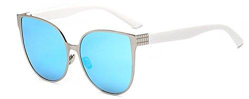 Women's Vintage Cat Eye White Silver Sunglasses Blue Mirror Lens UV 400 - Cat Wholesale Sunglasses Eye