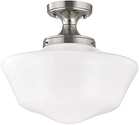 16-Inch Wide Schoolhouse Ceiling Light in Satin Nickel Finish