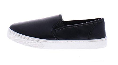 Slittamento Casuale Delle Donne Della Punta Delloro Sulla Piattaforma Piatta Fannullone Mocassino Memory Foam Atletico Street Deck Shoe Nero