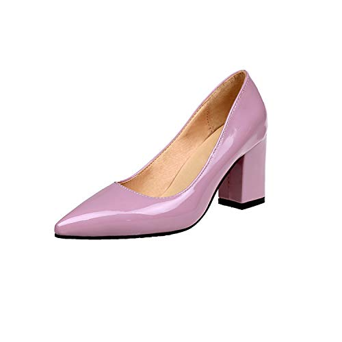 Collocation-Online Shallow Flats Women Pumps Black High Heels 7.5cm Lady Patent Leather Thick with Pointed Single Shoes,Pink,5