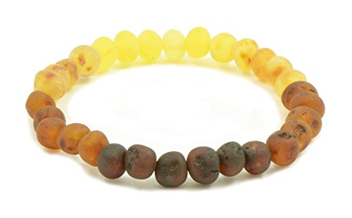 Raw Amber Bracelets for Adults made on Elastic Band - 7 inches - AmberJewelry - Hand-Made from Unpolished / Certified Baltic Amber Beads (7 inches (18 cm), Rainbow)
