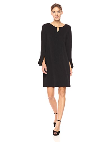 Calvin Klein Women's Tripple Flare Sleeve Dress, Black, L by Calvin Klein