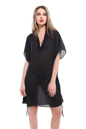 Teenloveme Summer Fashion Deep V-neck Loose Beachwear Swimsuit Cover up Tuni Black