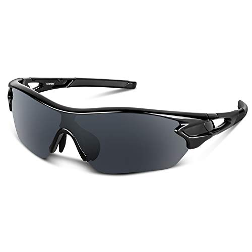 Polarized Sports Sunglasses for Men Women Cycling Running Driving Fishing Golf Baseball Motorcycle Glasses (Glossy Black) (Sellers Best Sunglasses)