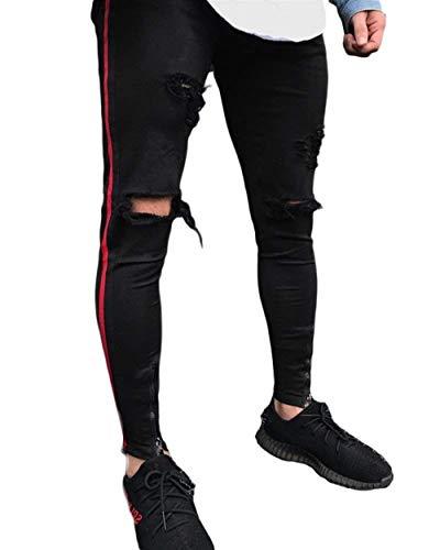 Da Giovane Uomo Strappati Nero Casual Jeans Pantaloni Denim Slim Fit 6qw1S7Z5W