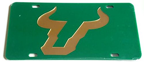 South Florida Bulls Green Gold Mirrored Car Tag - USF License Plate
