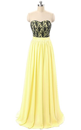 Dresses BessWedding Evening Party Sweetheart Yellow Chiffon Light for Long Lace Women Dresses 0r0Yqaw