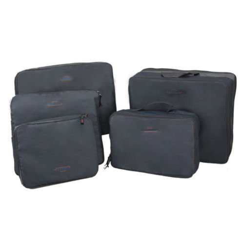Price comparison product image EUTTEUM 5x Travel Luggage Zipped Storage Bag Clothes Tidy Organizer Case Gray Pouch Suitcase