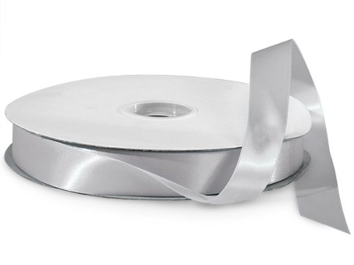 Silver Double Faced Satin Ribbon 7/8''x100 yds 100% Polyester (2 Spools) - WRAPS-DFS5012 by Miller Supply Inc