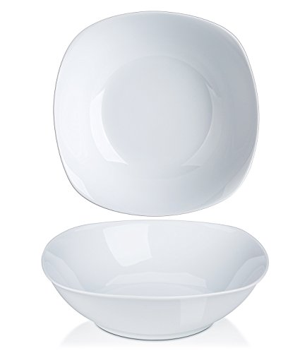 (Y YHY 42 Ounces Porcelain Salad, Cereal Bowls, White Square Serving Bowl Set, Large and Deep, Set of 2)