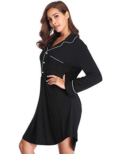 e06ea0fb91 Lusofie Nightgown Women s Long Sleeve Nightshirt Boyfriend Sleep Shirt  Button-up Lapel Collar Sleepwear