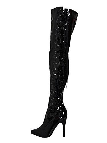 Boots Side UK 9 Lacing 9 11 Honour US EU 43 Black Thigh Black with IZ8FEq