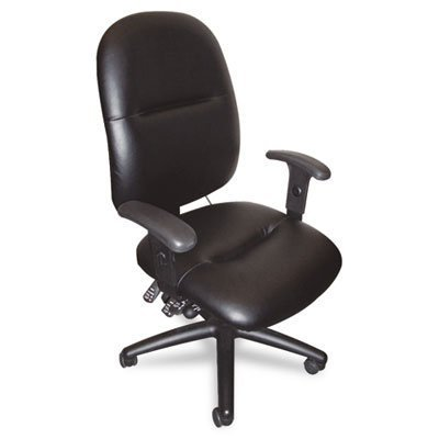 Tiffany Industries 2424AGBLT 24-Hour High-Performance Swivel Task Chair, Black Leather