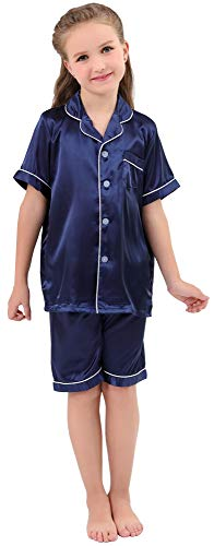 (JOYTTON Kids Satin Pajamas Set PJS Short Sleeve Sleepwear Loungewear Dark Blue)