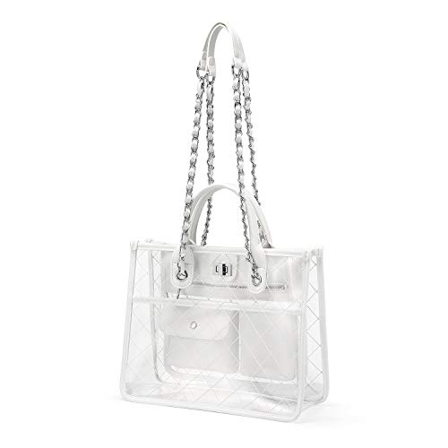 Clear Handbag Purses and Handbags Women's Designer Quilted Tote Shoulder Bag Medium Waterproof Twist Lock w/Chain Strap Stylish White ()